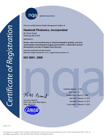 Headwall ISO certificate